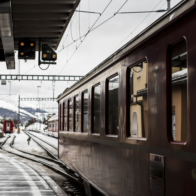 """Rail Station in Swiss Alps"" stock image"