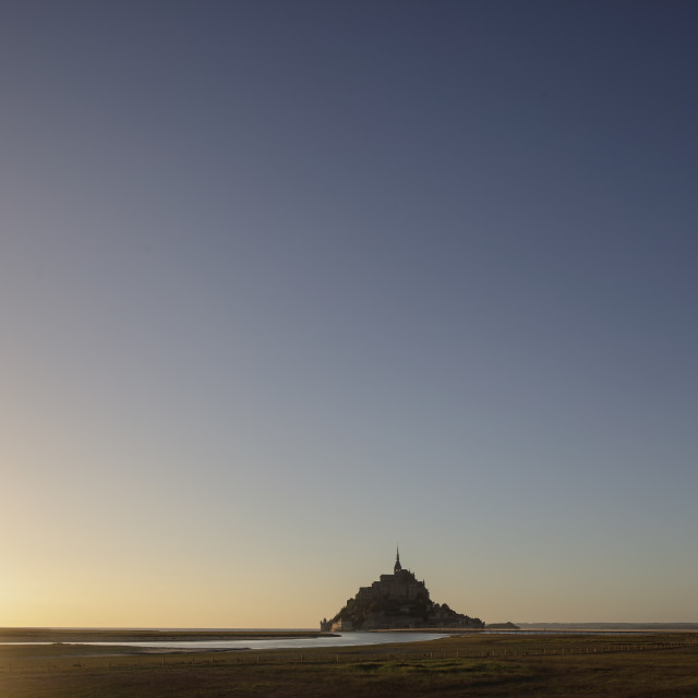 """Sunset Mont St Michel France"" stock image"