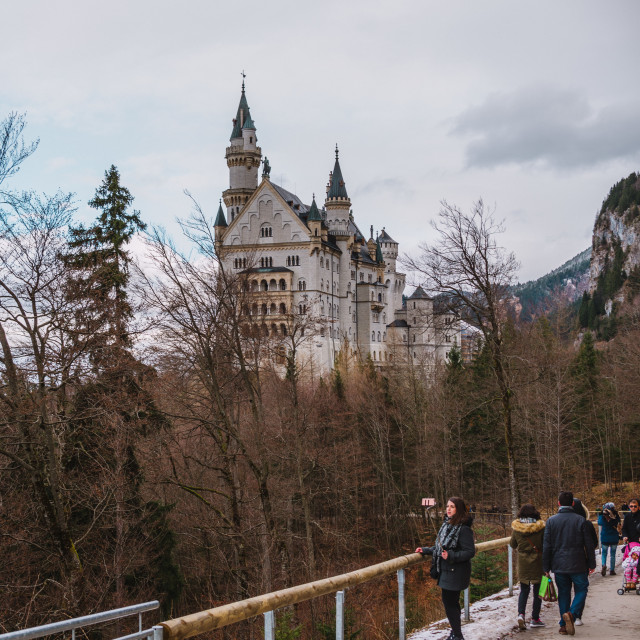 """24.02.2017 Neuschwanstein, Germany, people on the road to the castle"" stock image"