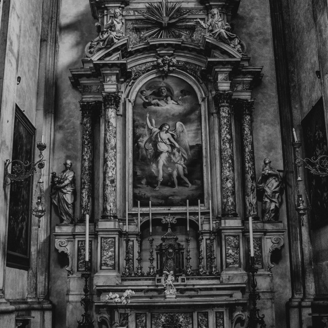 """August 06 2017, Brescia, Italy, inside the Old cathedral Brescia Church,"" stock image"