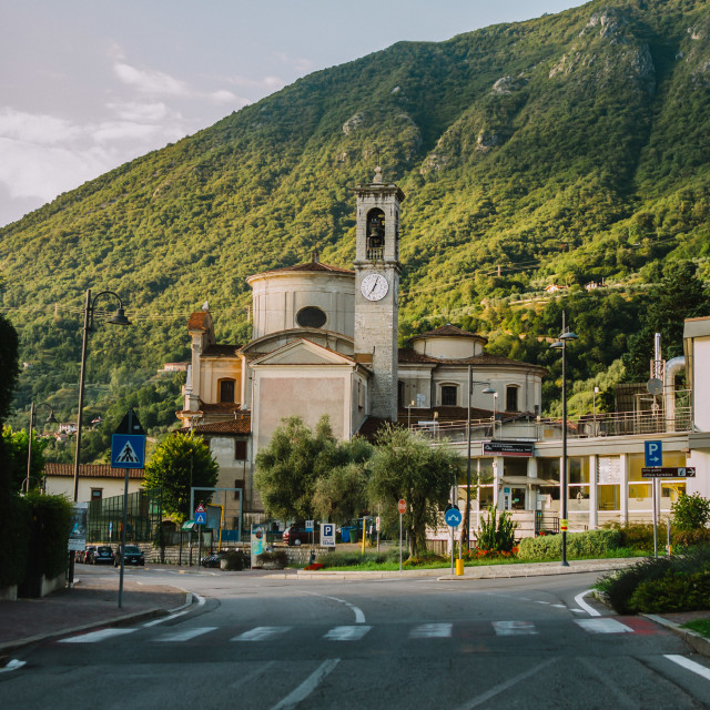 """driving a car through Lobardy in Italy, Lake Iseo"" stock image"