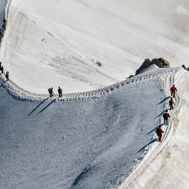 """Trekkers on Aiguille Du Midi, in the french alps"" stock image"