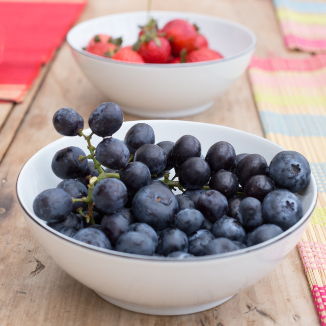 """A bowl of ripe blueberries"" stock image"