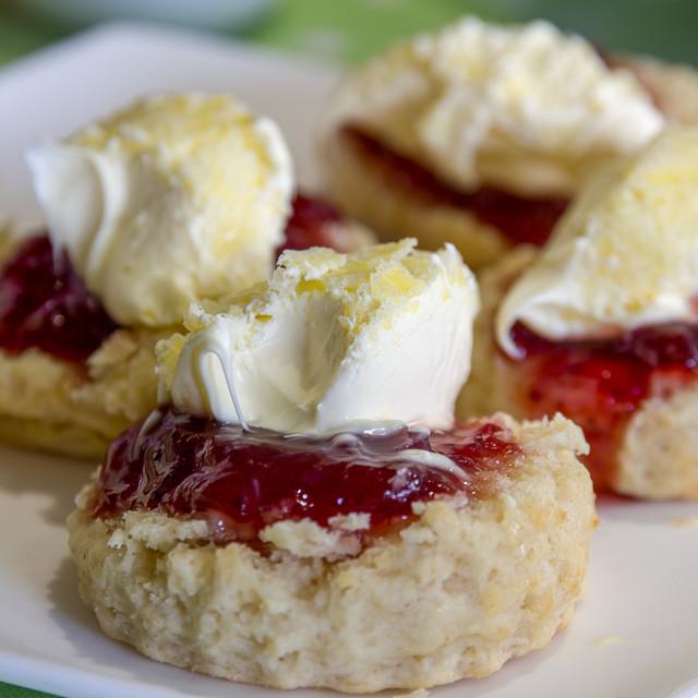 """""""Cornish Cream Tea Scones"""" stock image"""