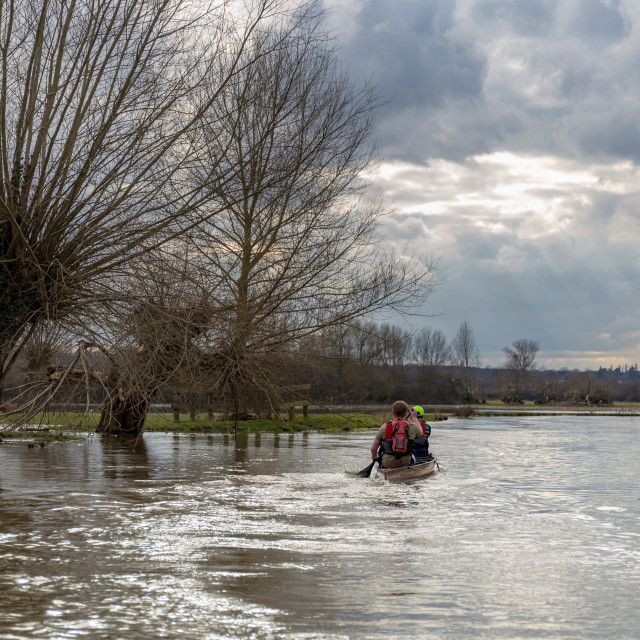 """Canoe in winter, Flatford, England"" stock image"