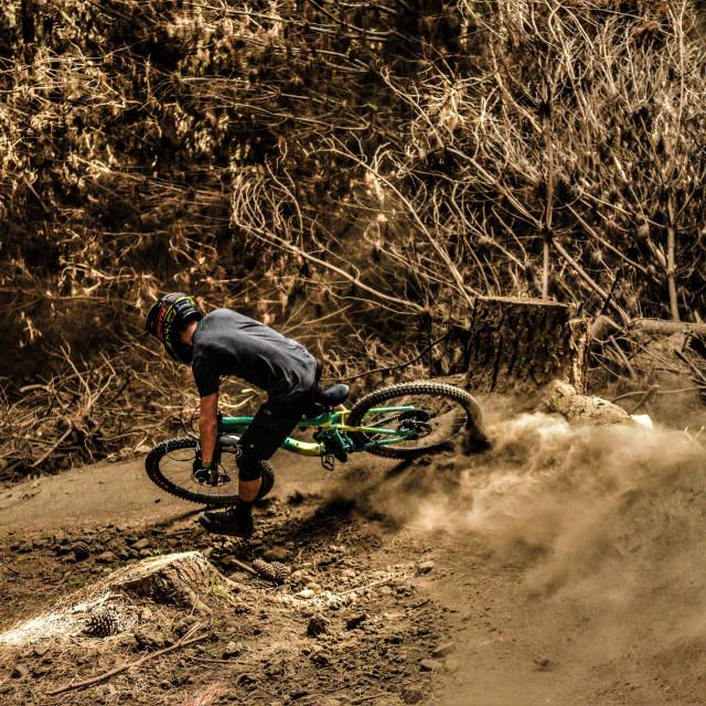 """""""Mountain Biker Shredding Corner"""" stock image"""