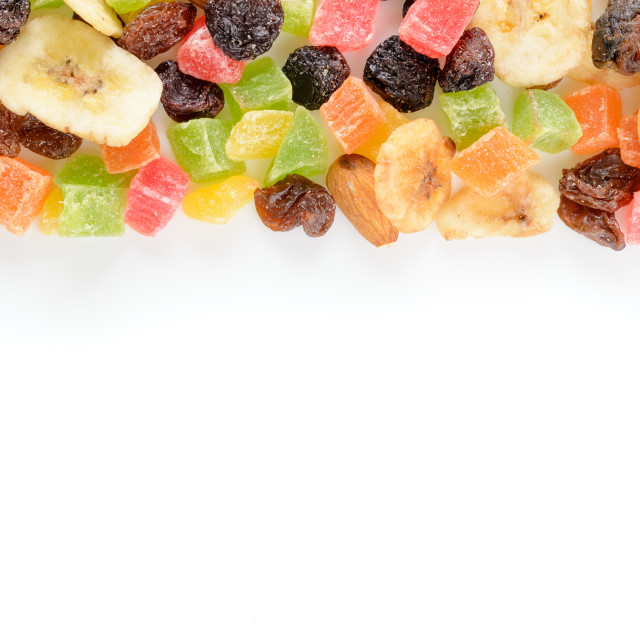 """""""Row of dry fruits on white background"""" stock image"""
