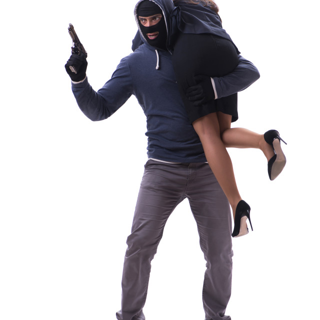 """""""Businesswoman is kidnapped by the gunman"""" stock image"""
