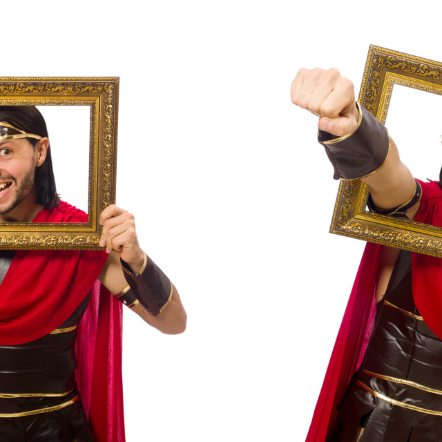 """""""Gladiator holding picture frame isolated on white"""" stock image"""