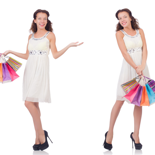"""""""Set of woman with shopping bags on white"""" stock image"""