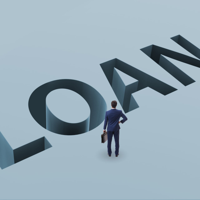 """""""Businessman in debt and borrowing concept"""" stock image"""