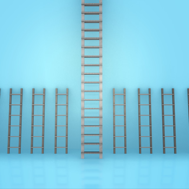 """""""Different ladders in career progression concept"""" stock image"""