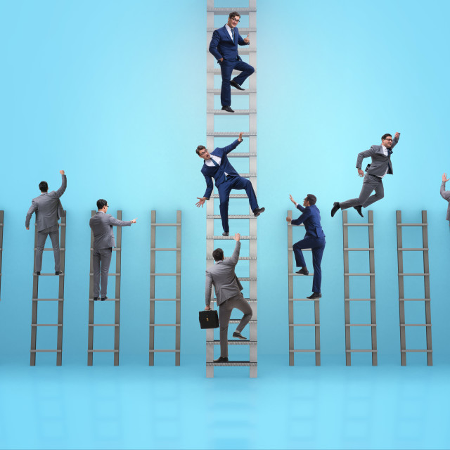 """""""Competition concept with businessman beating competitors"""" stock image"""