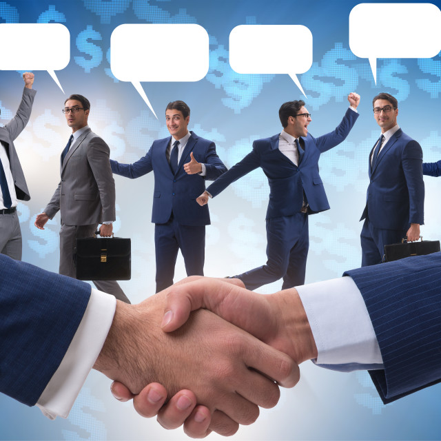 """""""Cooperationa and teamwork concept with handshake"""" stock image"""