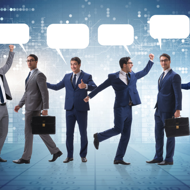 """""""Businessmen with callout bubble blank message"""" stock image"""