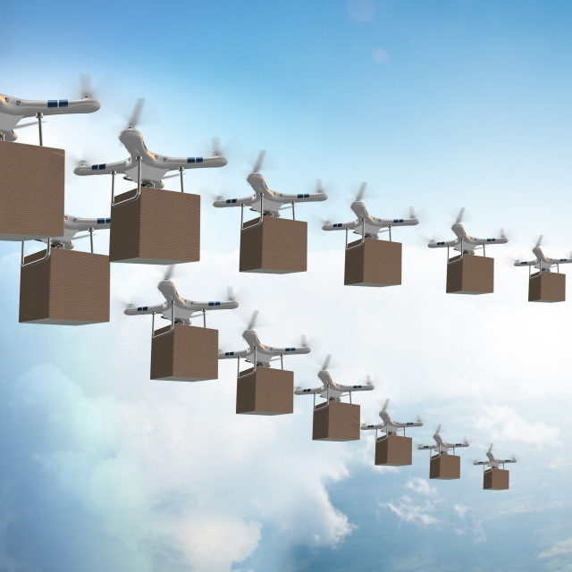"""""""Drones in package delivery concept"""" stock image"""