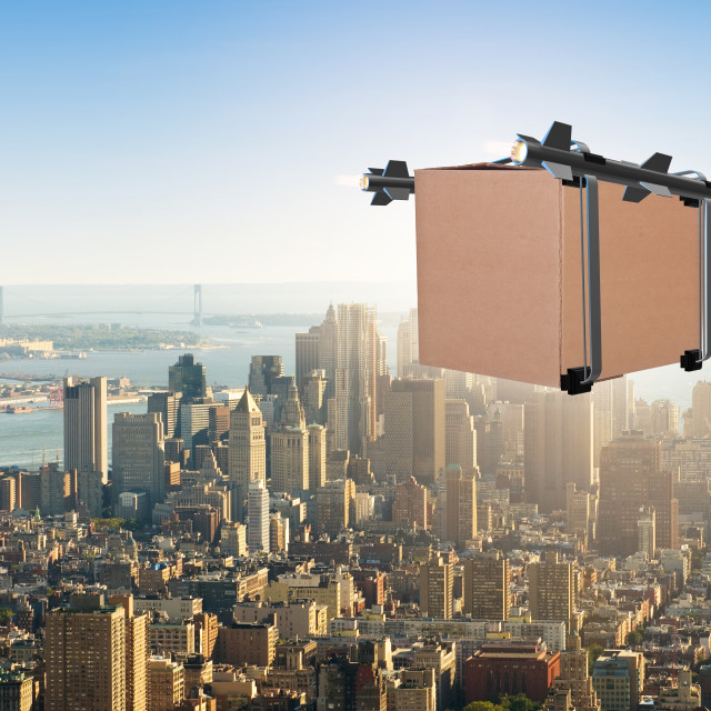 """""""Concept with box delivery and rockets"""" stock image"""