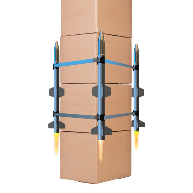 """""""Box delivery with rockets isolated on white background"""" stock image"""