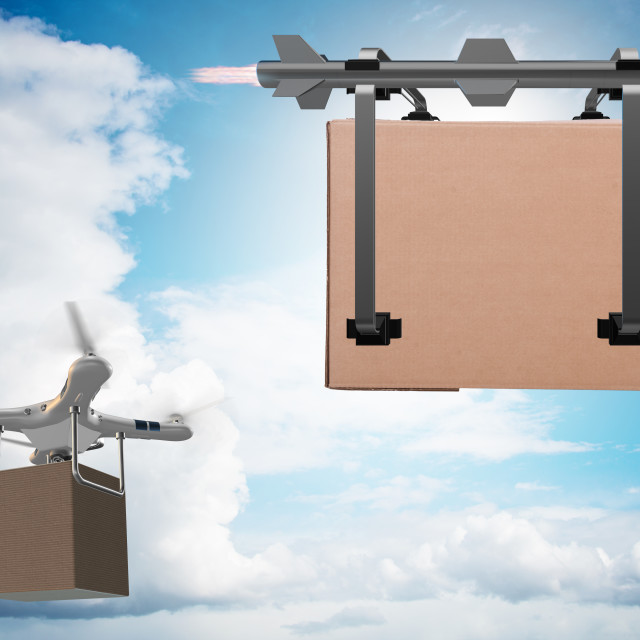 """""""Various modern delivery methods with rockets and drone"""" stock image"""