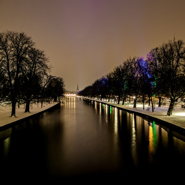 """""""The Embankment in the snow......."""" stock image"""