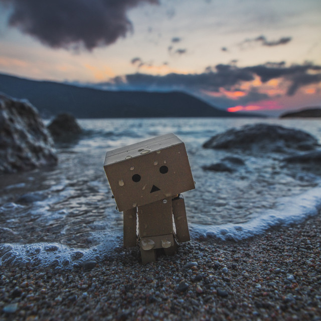 """Danbo on the beach"" stock image"