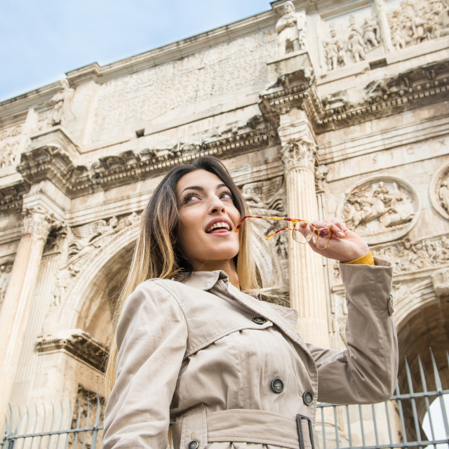 """""""Tourist at Arch of Constantine monument in Rome"""" stock image"""