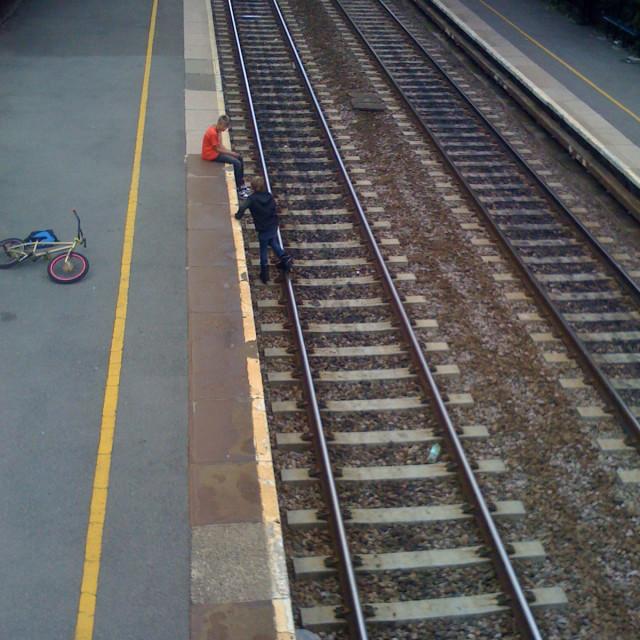 """Railway trespassing"" stock image"