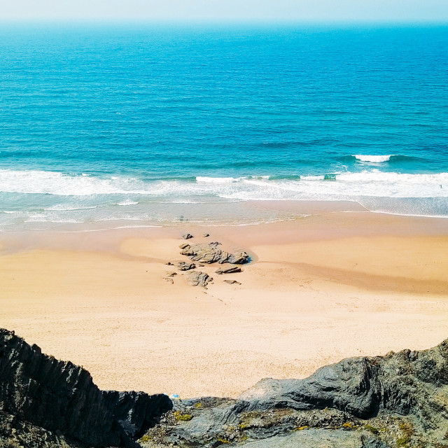 """""""Aerial Panoramic Drone View Of Blue Ocean Waves And Beautiful Sandy Beach in Portugal"""" stock image"""