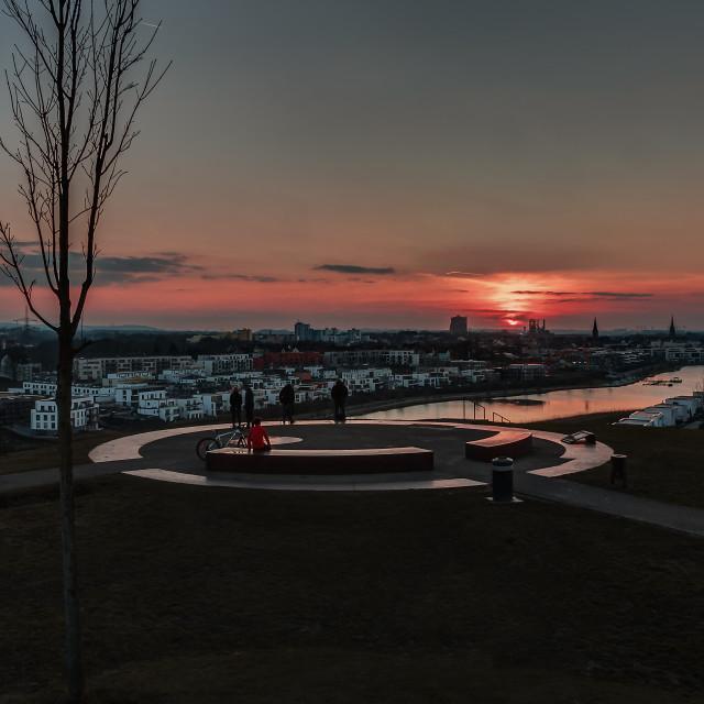 """Sundown at the Phoenixsee Dortmund"" stock image"
