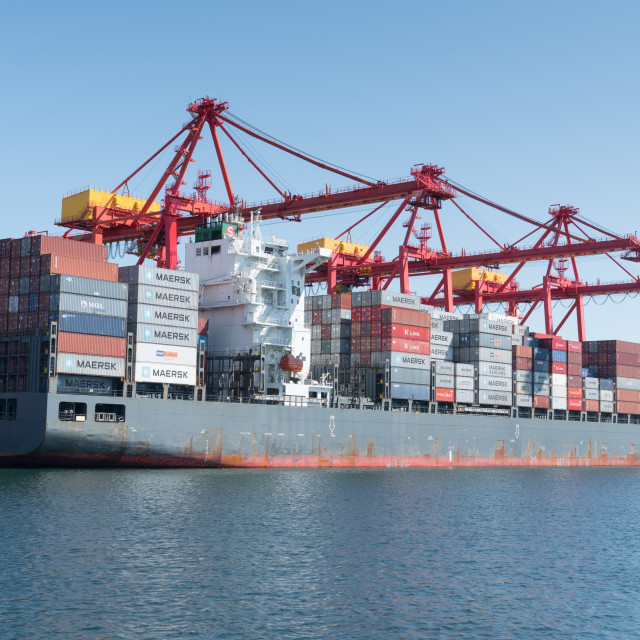 """Global trade logistics, Containership"" stock image"