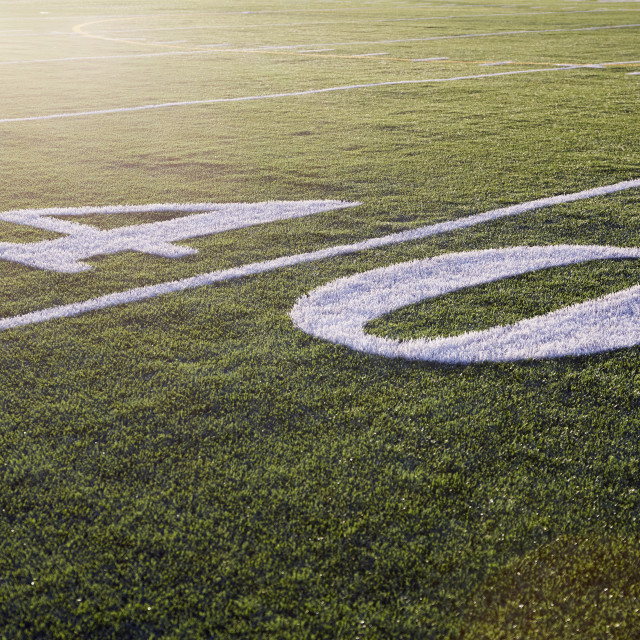 """Forty yard line on green playing field"" stock image"