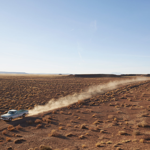 """USA, Arizona, Pick up truck going through desert on Route 66"" stock image"