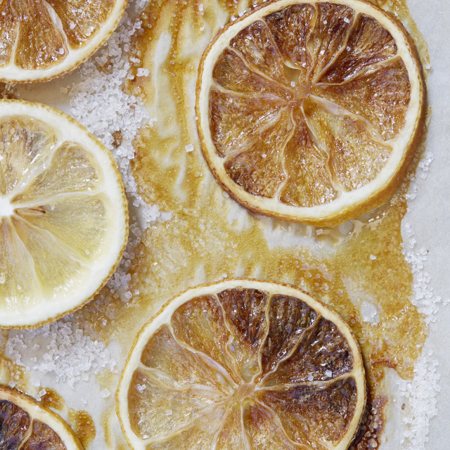 """Directly above view of caramelized lemons"" stock image"