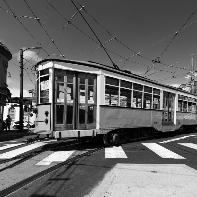 """trolley bus in San Francisco"" stock image"