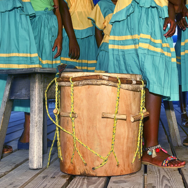 """Garifuna drum surrounded by dancers"" stock image"