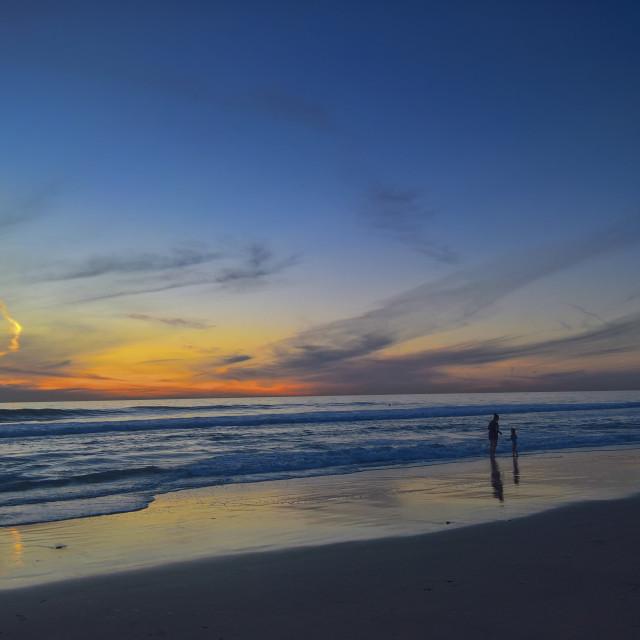 """Sunset beach fun in Solana Beach"" stock image"