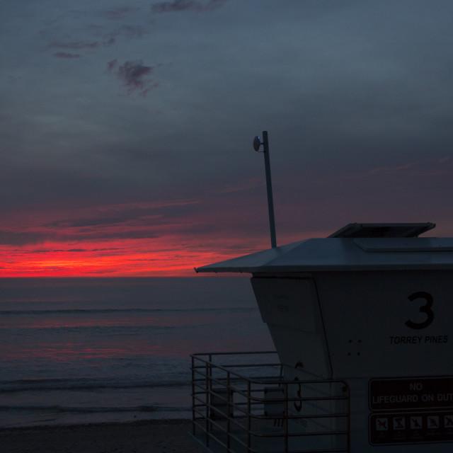 """""""Lifeguard tower at sunset"""" stock image"""