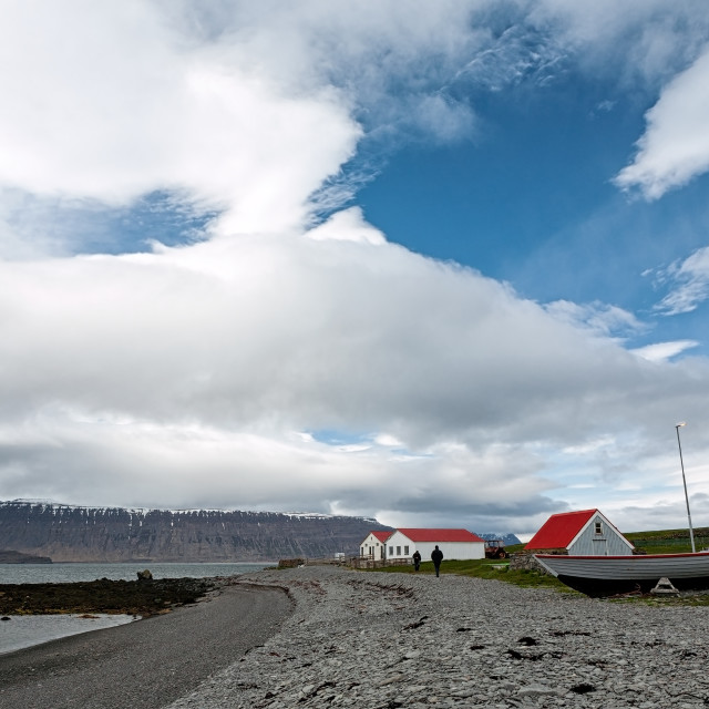"""""""Houses and boat in Vigur island, Iceland"""" stock image"""