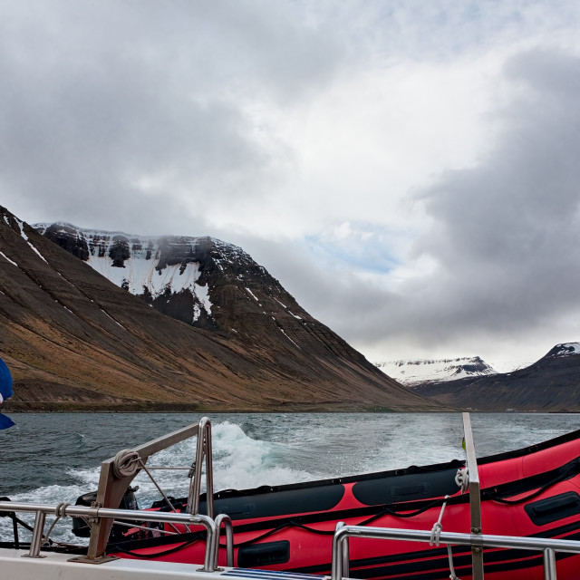 """""""Icelandic flag and rubber boat sailing in a fjord, Iceland"""" stock image"""