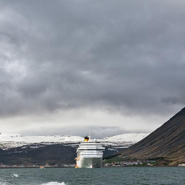 """Cruise ship stopped in Isafjordur, Iceland"" stock image"