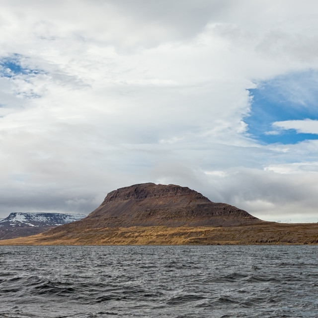 """Panoramic mountain view in Isafjordur, Iceland"" stock image"