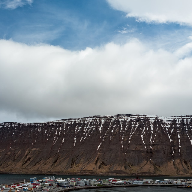 """""""Panoramic view in Isafjordur, Iceland"""" stock image"""