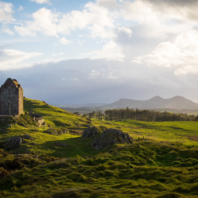 """""""Evening Sunlight At Smailholm Tower"""" stock image"""