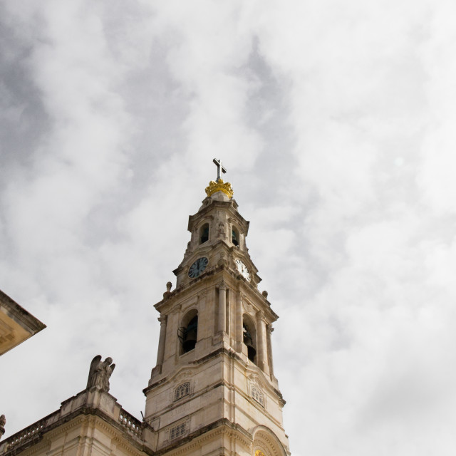 """""""Detail of the tower of the main church of Fatima, Portugal"""" stock image"""