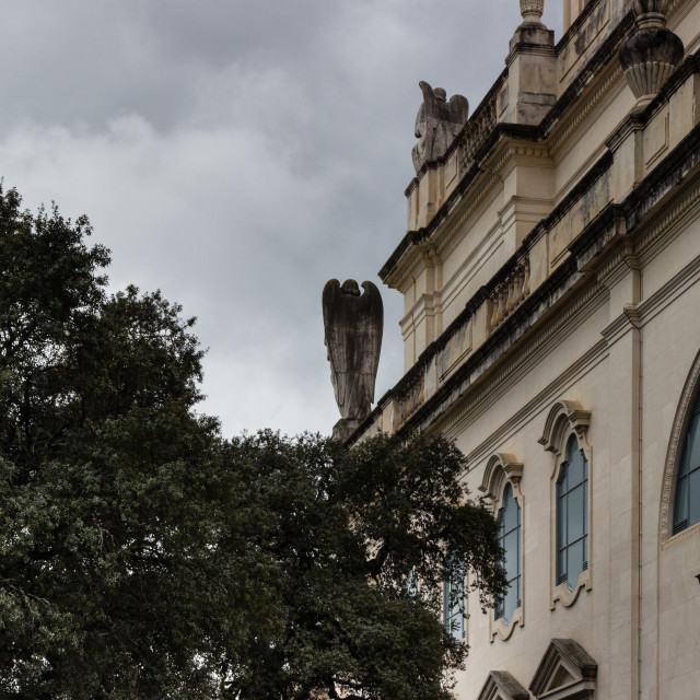 """""""The back of the main churck of Fatima: a saint watching the pilgrims"""" stock image"""
