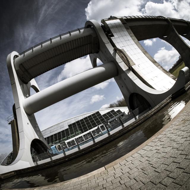 """""""Falkirk Wheel Fisheye"""" stock image"""