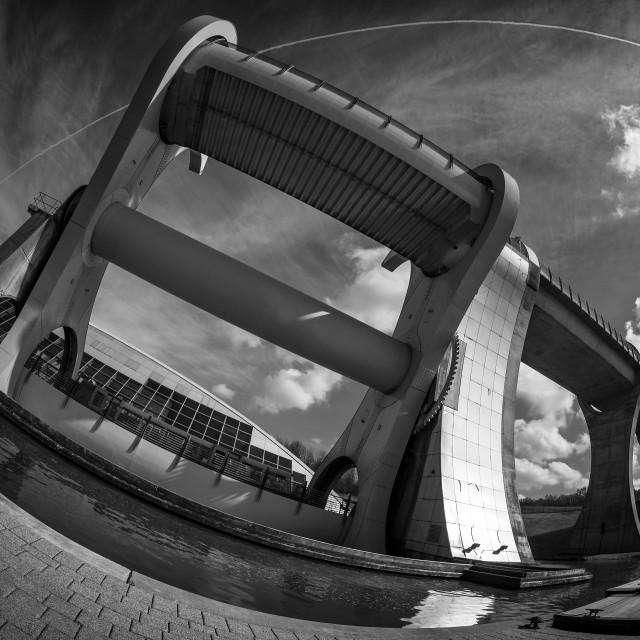 """The Falkirk Wheel Monochrome"" stock image"