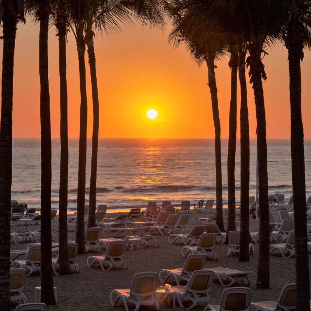"""Mexican sunset at Nuevo Vallarta"" stock image"