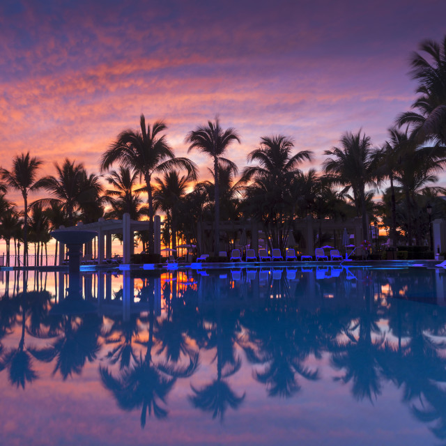 """Sunset at Nuevo Vallarta in Mexico"" stock image"
