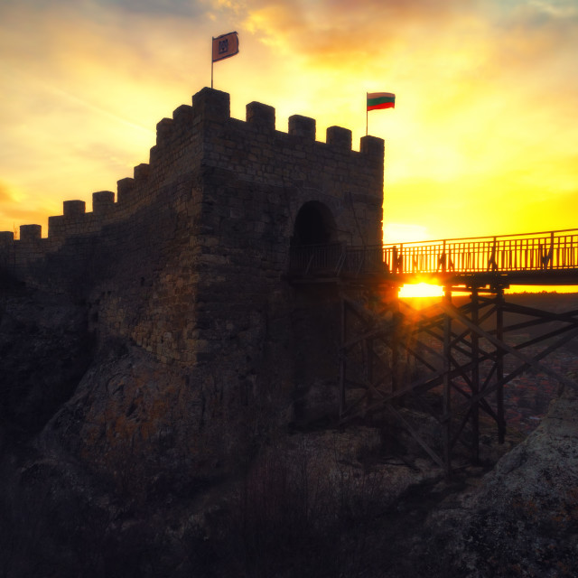 """""""Epic sunset over medieval fortress Ovech near Provadia, Bulgaria"""" stock image"""